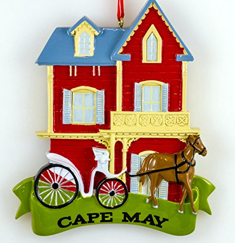 Cape May Victorian House with Horse & Buggy Ornament