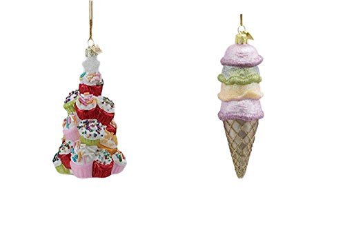 Kurt Adler Noble Gems Christmas Ornament Set, Ice Cream Cone & Cupcakes