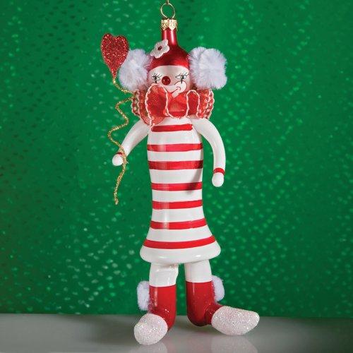 De Carlini Clown With Striped Dress Ornament Christmas Circus – Blown Glass 6.25 IN