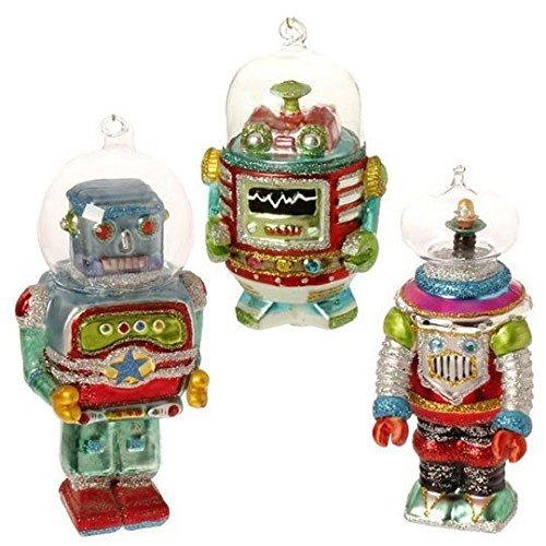 (Ship from USA) RAZ IMPORTS 5.5 INCH GLASS ROBOT IN SPACE ORNAMENTS (Set of 3) /ITEM#H3NG UE-EW23D1791