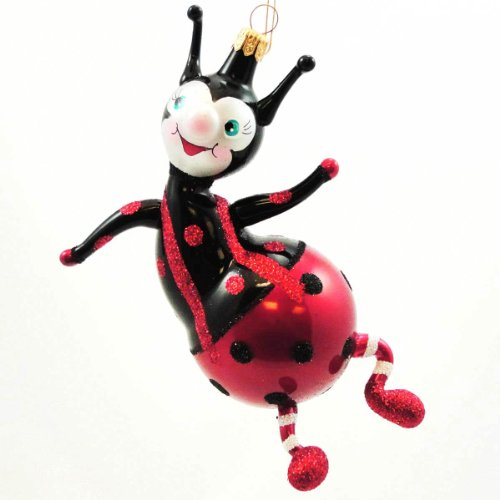 De Carlini SITTING LADYBUG Blown Glass Ornament Red Beetle A5685M