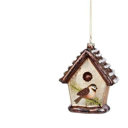 4.75 Noble Gems Country Cabin Glass Bird House Christmas Ornament WLM