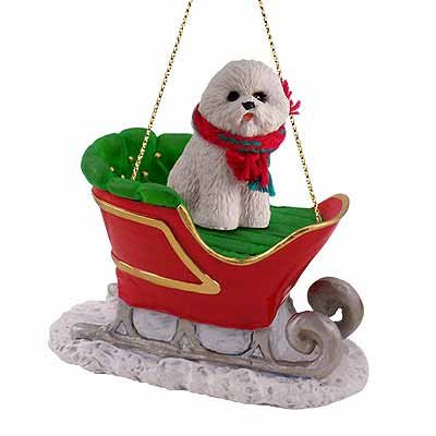 Bichon Frise Dog in Sleigh Christmas Ornament New