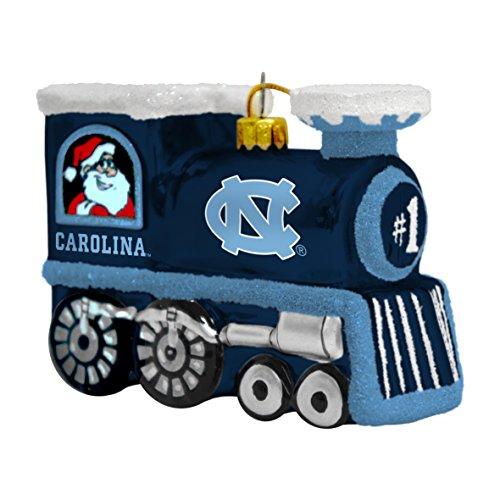 NCAA North Carolina Tarheels Blown Glass Train Ornament