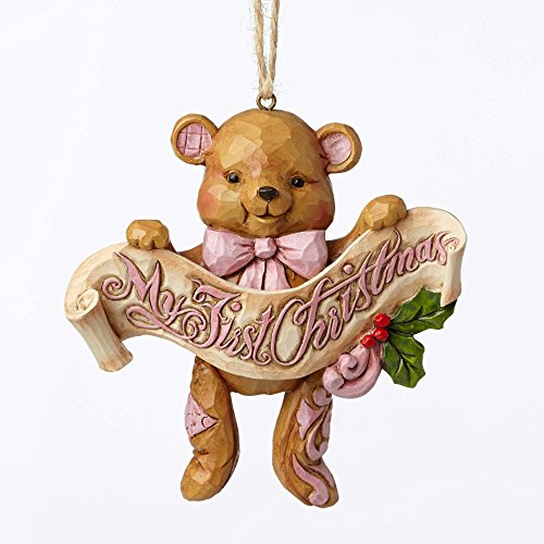 Jim Shore Heartwood Creek, First Christmas Pink Bear Orn