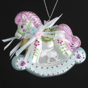 3.75 NOBLE GEMS GLASS BABY'S FIRST CHRISTMAS ROCKING HORSE Christmas Tree Ornament by Kurt Adler