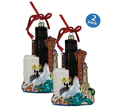Kurt Adler Chicago Glass Cityscape, Christmas Ornament…