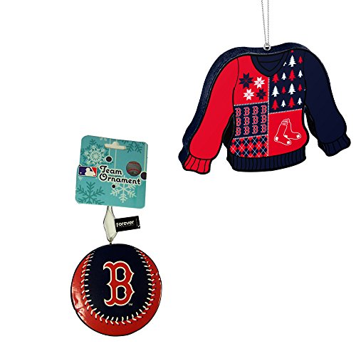 Boston Red Sox MLB Foam Christmas Ball Ornament And Ugly Sweater Bundle 2 Pack