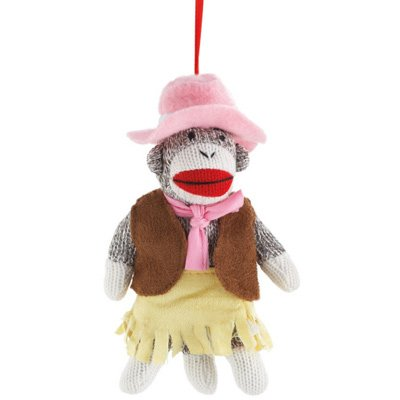 Cowboy And Cowgirl Sock Monkey Ornament Set