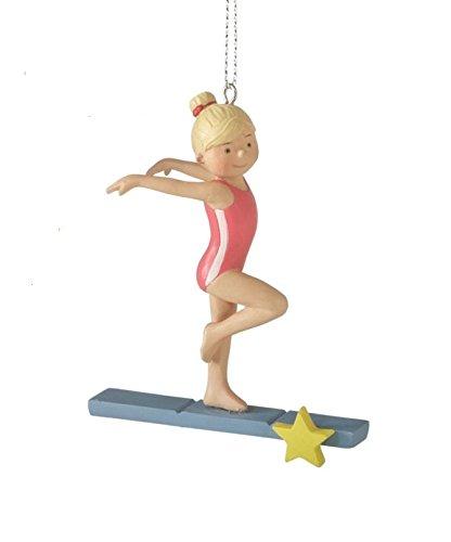 3.5″ Aspiring Gymnast on Balance Beam with Yellow Star Christmas Ornament
