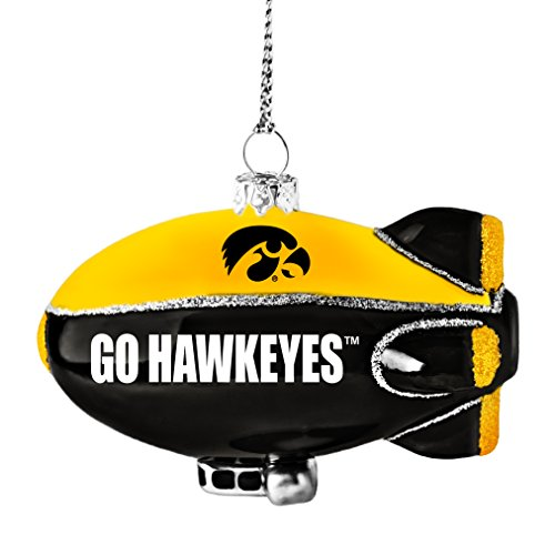 NCAA Iowa Hawkeyes Glitter Blimp Ornament, Silver, 3″ x 2.25″