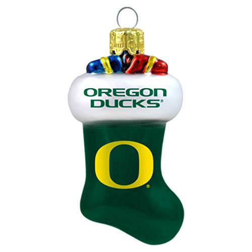 NCAA Oregon Ducks Molded Stocking Glass Ornament, Small, Green