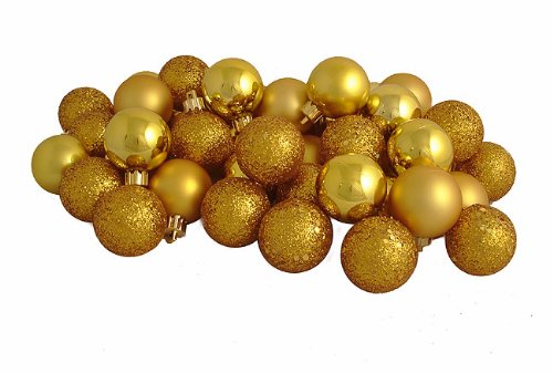96ct Antique Gold Shatterproof 4-Finish Christmas Ball Ornaments 1.5″ (40mm)
