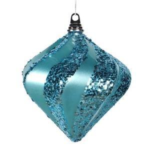 Vickerman 8″ Teal Candy and Glitter Finish Swirl Diamond Christmas Ornament