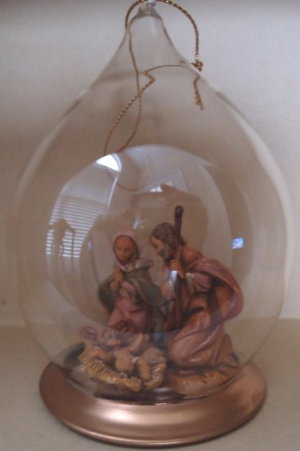 FONTANINI by ROMAN~HOLY FAMILY~NATIVITY HAND PAINTED GLASS TEAR DROP ORNAMENT