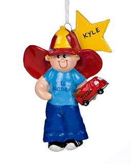 6080 Big Brother with firetruck Personalized Christmas Ornament