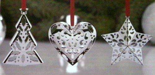 Lenox Star, Tree, and Heart Metal Christmas Ornaments – Set of 3