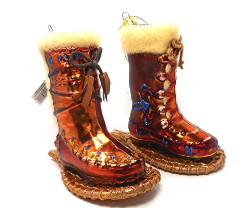 180 Degrees Native American Boots with Snowshoes with Boots Mica Ornaments SET OF 2