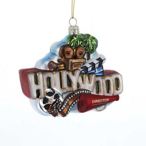 Kurt Adler Glass Hollywood Sign Ornament, 5-Inch
