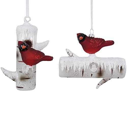 Sage & Co. XAO18602RW Cardinal on Birch Log Ornament (2 Styles) (6 Pack)