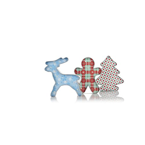 Winter Lane Set of 3 LED Lighted Metal Cookie Cutter Decorations- Gingerbread Man, Reindeer and Christmas Tree Shaped