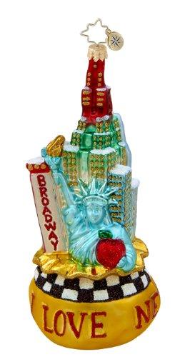 Christopher Radko Glass Big City Bag I Love New York Christmas Ornament #1015494