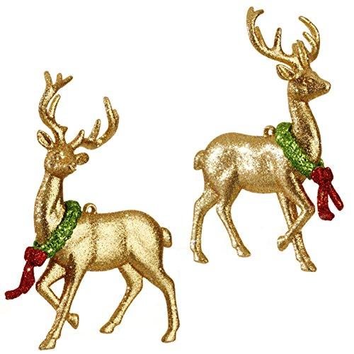 RAZ Night Before Christmas Glittered Deer Ornament, Set of 2