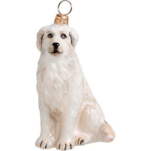 Great Pyrenees Mountain Dog Sitting Polish Glass Christmas Ornament Decoration