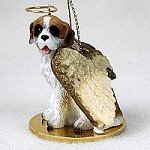 Saint Bernard w/Rough Coat Pet Angel Ornament