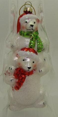 Glass Polar Bears Santa Hats Holiday Ornament Boxed