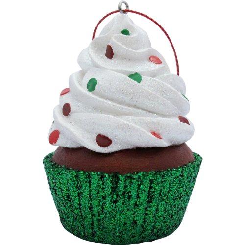 Jillson Roberts Christmas Cupcake Ornament, White Confetti Glitter