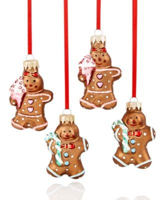 Holiday Lane Mini Molded Gingerbread Glass Ornaments Set of 4