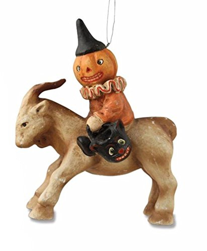 Bethany Lowe Halloween Jack-O-Lantern Ghoul Riding a Goat Ornament, 4″ Tall