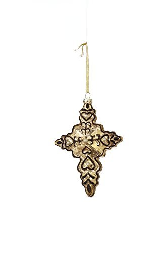 Sage & Co. XAO17502GD Glass Glittered Cross Ornament, 6-Inch by Sage & Co.