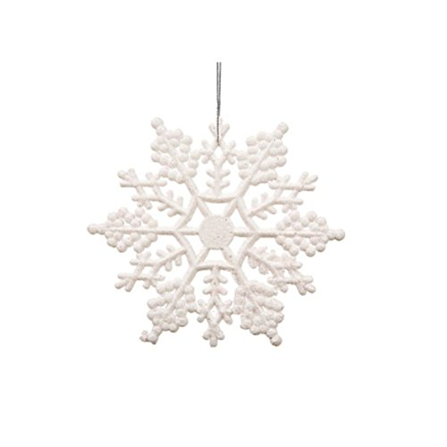 Vickerman White Glitter Snowflake with 24 Per PVC Box, 4-Inch