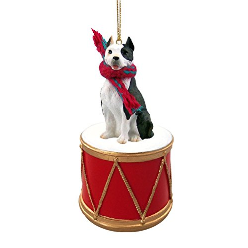 Pit Bull Drum Christmas Ornament w. Gold String & Scarf