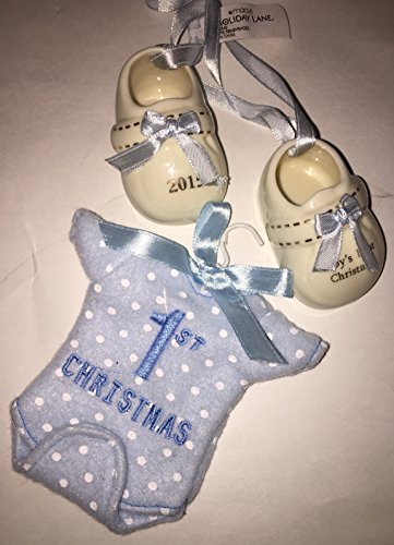 "2015 Macy's Holiday Lane Baby Boy's First Christmas Ornament Set – Booties and ""Onesie"""