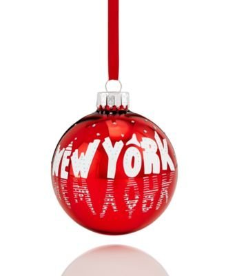 Holiday Lane Glass New York Ball Ornament Red/White/Silver