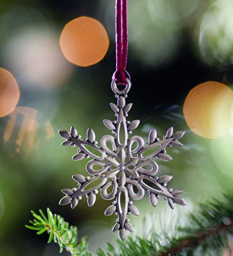 Solid Pewter Christmas Ornament, in Snowflake