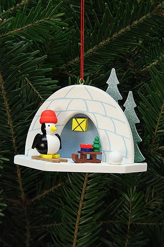 Tree ornaments Tree Ornaments Igloo with Penguin – 9,2×7,0cm / 4×3 inch – Christian Ulbricht