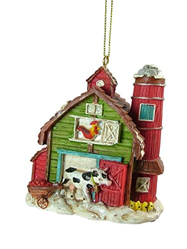 Barn Rooster Cow Animal Silo Dairy Farm Christmas Tree Ornament