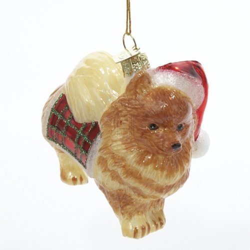 Kurt Adler Noble Gems Pomeranian Glass Christmas Ornament