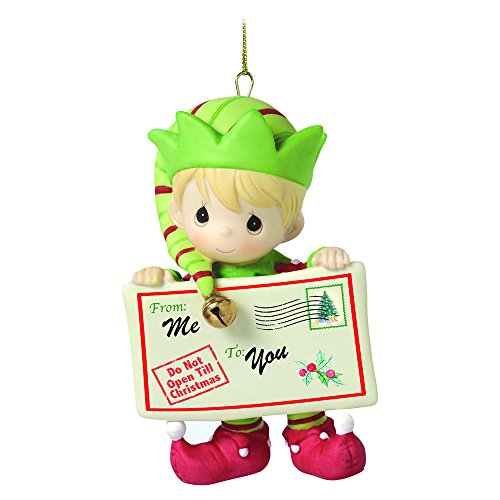 """Precious Moments, Christmas Gifts, """"Joy, Peace and Christmas Cheer In Here"""", 1st in Annual Elf Series, Porcelain Ornament, #161037"""