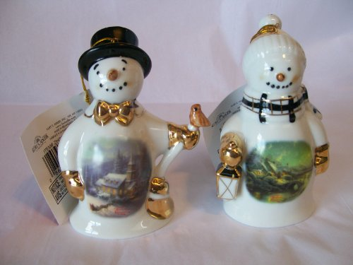 "Thomas Kinkade "" Winter Lane "" Painter of Lights Ornament Snowman Figurine Set 4.5″ Tall Kurt S. Adler"