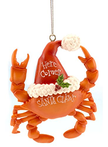 Crab Christmas Ornament Wearing a Santa Hat, Here Comes Santa Claws