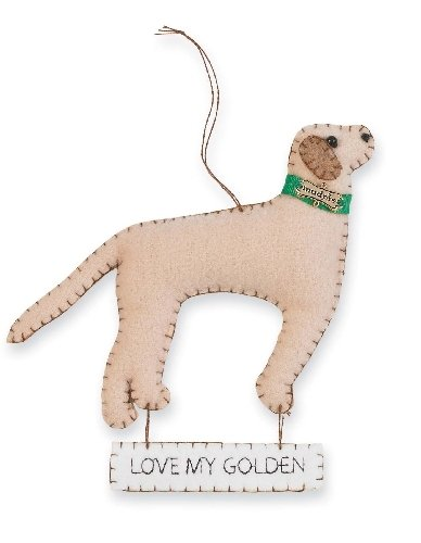 "Mud Pie Felt ""I Love My…"" Dog Ornaments (Retriever)"
