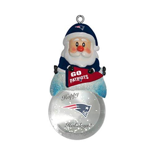 NFL New England Patriots Snow Globe Ornament, Silver, 1.5″