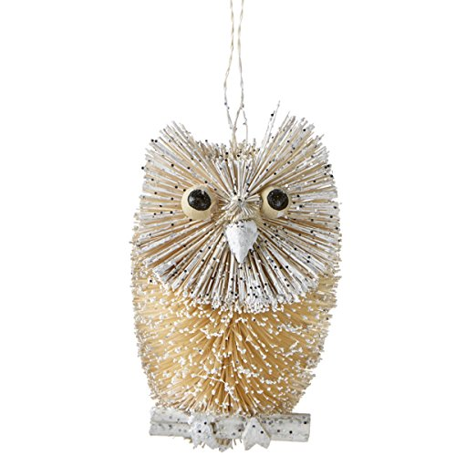 4″ Snowy Winter Glitter Embellished Wooden Bristled Snow Owl Christmas Ornament