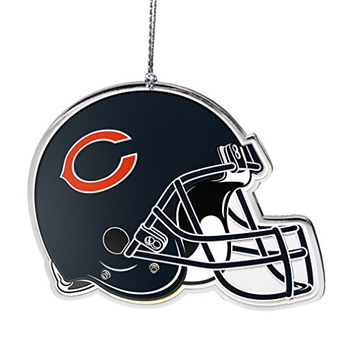NFL Chicago Bears Flat Metal Helmet Ornament, Silver, 3″ Width and 2.25″ Height
