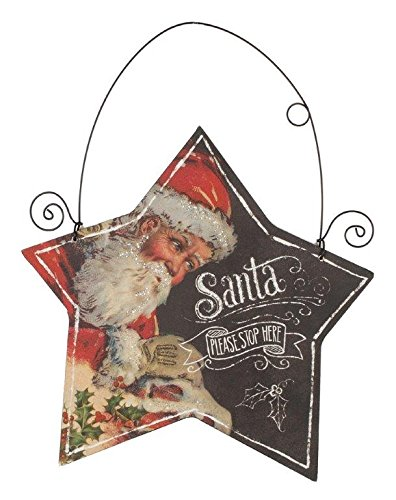 Blossom Bucket Santa Star Hanging Sign Christmas Decor, 8 by 8″